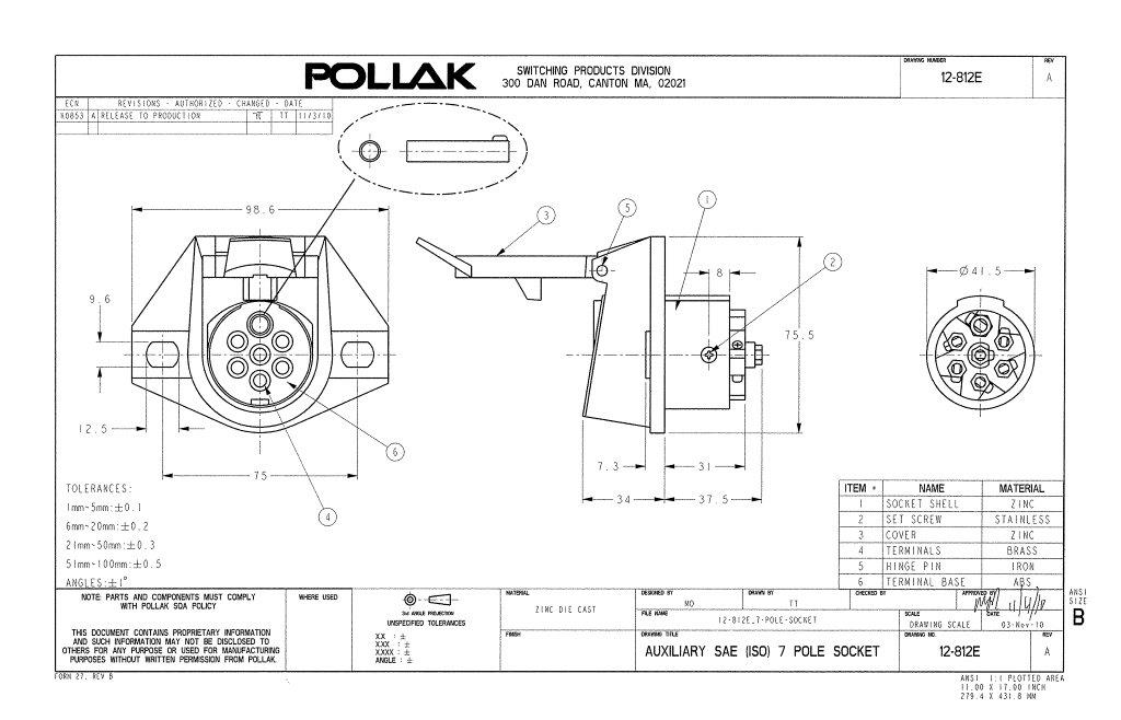 pollak 12-812ep 7-way connector socket | waytek wire pollak 7 way rv plug wiring diagram