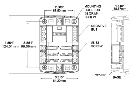 78152 Dimensions blue sea systems 5026 st blade fuse block waytek wire blue sea fuse block wiring diagram at n-0.co