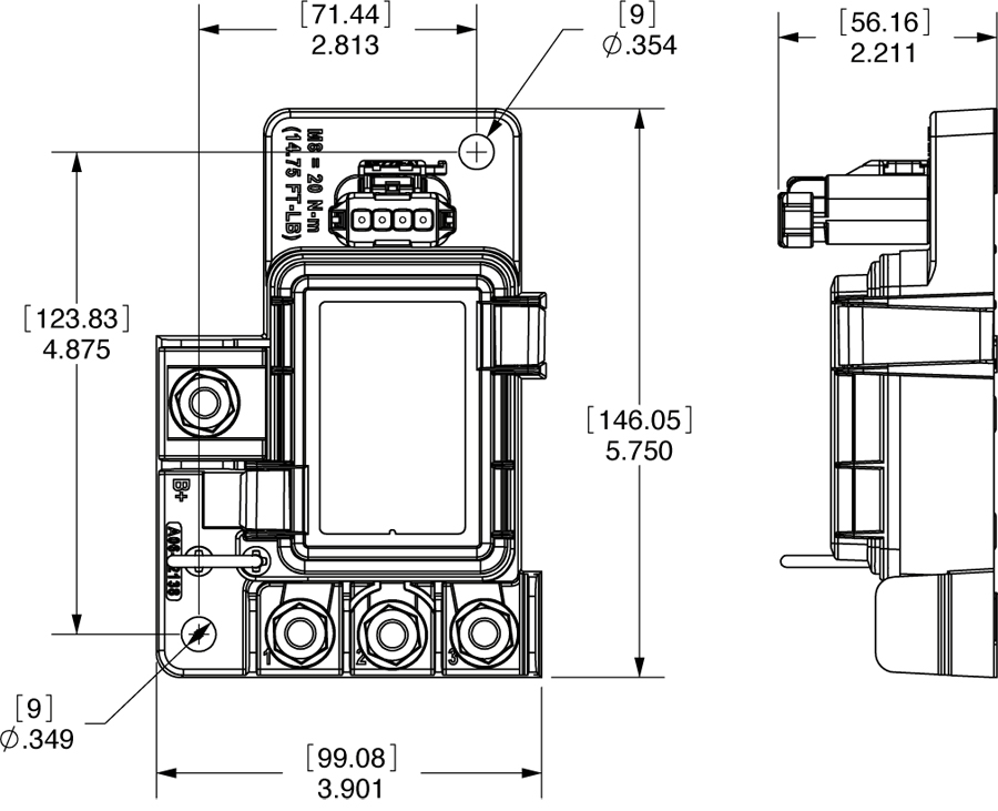 78158 Dimensions blue sea systems 7725 safetyhub 100 fuse block waytek wire blue sea fuse block wiring diagram at n-0.co